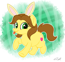 Size: 1480x1424 | Tagged: safe, artist:iheartjapan789, oc, oc only, oc:emi, oc:emi hartman, oc:emi the bunny girl, earth pony, pony, bunny ears, female, mare, ponified?, solo, tongue out