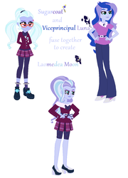 Size: 800x1112 | Tagged: safe, artist:meowwoofoink, princess luna, sugarcoat, equestria girls, four arms, four eyes, fusion, multiple arms, multiple eyes, vice principal luna