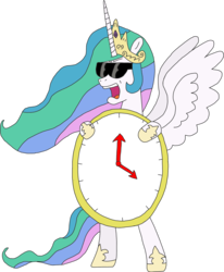 Size: 2147x2608   Tagged: safe, alternate version, artist:supahdonarudo, princess celestia, alicorn, pony, angry, bipedal, clock, female, filthy frank, holding, it's time to stop, mare, open mouth, simple background, solo, spread wings, standing, sunglasses, transparent background, wings
