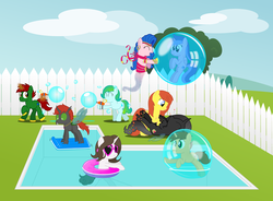 Size: 4200x3088 | Tagged: absurd res, alicorn, alicornified, artist:bladedragoon7575, bubble, commission, cute, fence, group picture, in bubble, inflatable, oc, oc:amira, oc:angel mystery, oc:bobby seas, oc:chrysanthemum rose, oc:crypto, oc:delphina depths, oc:pyrisa miracles, oc:savvy, pool, pool party, race swap, safe, seafoam, sea swirl, swirlicorn, your character here