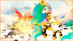 Size: 1920x1080 | Tagged: safe, artist:serenitysartwork, philomena, princess celestia, alicorn, bird, phoenix, pony, 3d, armor, beautiful, bond, crown, cutie mark, female, flying, glowing horn, glowing wings, jewelry, lidded eyes, looking at each other, loyalty, magic, magic aura, mare, master and pet, mountain, multicolored mane, multicolored tail, pet, praise the sun, purple eyes, regalia, royalty, smiling, snow, sparkles, spread wings, telekinesis, tiara, warrior celestia, weapon