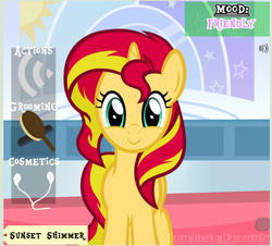 Size: 611x552   Tagged: safe, artist:comfydove, artist:heartwarmer-mlp, artist:lil-lovey, sunset shimmer, pony, unicorn, brush, comb, cute, earbuds, female, game, happy, looking at you, mare, shimmerbetes, smiling, solo