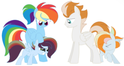 Size: 944x508 | Tagged: alternate hairstyle, artist:wolfiefox27, base used, colt, family, female, filly, firedash, fire streak, half-siblings, male, missing cutie mark, oc, oc:finsh smoke, oc:silverine zap, offspring, older, parent:fire streak, parent:rainbow dash, parents:firedash, parent:soarin', parents:soarindash, pony, rainbow dash, safe, simple background, straight, transparent background