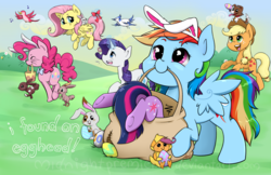 Size: 1500x970 | Tagged: safe, artist:midnightpremiere, angel bunny, applejack, fluttershy, pinkie pie, rainbow dash, rarity, scootaloo, twilight sparkle, winona, pony, annoyed, bow, bunny ears, cute, dashabetes, easter, easter bunny, easter egg, female, mane six, mare, scootachicken, smiling, tail bow