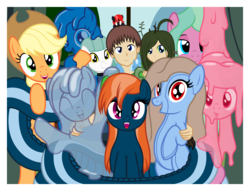 Size: 3592x2750 | Tagged: safe, artist:badumsquish, derpibooru exclusive, applejack, trixie, oc, oc:adrianna, oc:candes, oc:cuddlhu, oc:firginia, oc:generic messy hair anime anon, oc:groot, oc:hickey, oc:kalianne, oc:mattie, oc:mave, oc:quiddity, oc:tremble, alp-luachra, bug pony, earth pony, gakpony, goo pony, human, hybrid, lamia, lamp pony, monster pony, object pony, original species, pony, satyr, sea pony, tatzlpony, :o, applejack's hat, baby, baby pony, badumsquish's 1000'th image, bed bug, bedroom eyes, bipedal, blushing, c:, choker, coils, cowboy hat, curtains, cute, cute little fangs, ear fluff, eyes closed, fangs, featured image, female, filly, green sclera, grin, group, hand on shoulder, happy, hat, holding a pony, hug, lidded eyes, long hair, looking at you, mare, melting, milestone, non pony, open mouth, parent:anon, parent:oc:anon, parent:oc:generic messy hair anime anon, parent:timber wolf, photo, ponified, pony hat, ponysuit, pose, raised hoof, red eyes, riding, scared, sleeping, slime, smiling, smirk, species swap, surprised, table, tail hold, tatzljack, tentacles, thank you, tiny, tiny ponies, tongue out, trixiechidna, wall of tags, waving, wide eyes, window