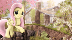 Size: 4000x2250 | Tagged: safe, artist:redaceofspades, fluttershy, 3d, house, mountain, poster, scenery, solo, source filmmaker