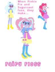 Size: 1142x1481 | Tagged: safe, artist:animeponynintendo, pinkie pie, sugarcoat, equestria girls, balloon, boots, bracelet, candy, clothes, cute, eyes closed, firecracker, food, four arms, fusion, glasses, hands behind back, high heel boots, jewelry, lollipop, multiple arms, pigtails, raised leg, skirt, twintails