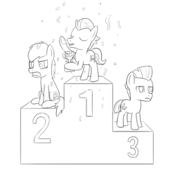 Size: 1000x1000   Tagged: safe, artist:unsavorydom, carrot crunch, tender taps, train tracks (character), pony, colt, confetti, lineart, male, monochrome, podium, trophy