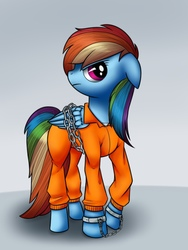 Size: 768x1024   Tagged: safe, artist:globug100art, rainbow dash, bound wings, chains, clothes, cuffed, cuffs, female, frustrated, handcuffed, jail, prison, prison outfit, prisoner rd, shackles, solo