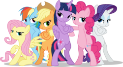 Size: 9000x4892 | Tagged: safe, artist:limedazzle, applejack, fluttershy, pinkie pie, rainbow dash, rarity, twilight sparkle, alicorn, pony, absurd resolution, bedroom eyes, bipedal, cool, crossed arms, crossed hooves, female, fresh princess and friends' poses, fresh princess of friendship, mane six, mare, pose, show accurate, simple background, transparent background, twilight sparkle (alicorn), vector