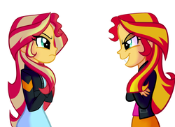 Size: 1024x745 | Tagged: safe, artist:wubcakeva, sunset shimmer, human, equestria girls, clothes, commission, duality, human sunset, jacket, leather jacket, looking at each other, self paradox, self ponidox, simple background, skirt, white background