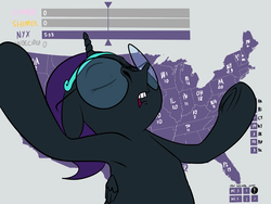 Size: 1600x1200 | Tagged: safe, artist:anontheanon, edit, starlight glimmer, sunset shimmer, oc, oc only, oc:nyx, alicorn, pony, /mlp/, 2016 us presidential election, alicorn oc, arm hooves, armpits, drawthread, election, eyes closed, female, filly, floppy ears, glasses, gray background, headband, jeb bush, map, meme, open mouth, outstretched arms, ponified, simple background, solo, text, underhoof, united states