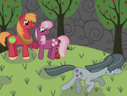 Size: 2048x1536 | Tagged: safe, artist:kindheart525, big macintosh, cheerilee, marble pie, oc, oc:discovery, earth pony, pony, kindverse, apple tree, cheerimac, crying, female, holding hooves, implied marblemac, implied shipping, male, offspring, parent:big macintosh, parent:cheerilee, parents:cheerimac, pregnant, running away, shipping, shipping denied, stallion, stormcloud, story included, straight, this will end in tears, tree