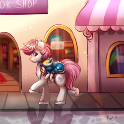 Size: 1500x1500 | Tagged: artist:ravensunart, building, commission, cute, oc, oc:intrepid charm, oc only, oc:tidal charm, pony, safe, signature, sleeping, solo, street