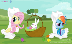 Size: 3204x1958 | Tagged: safe, artist:shutterflyeqd, angel bunny, fluttershy, rainbow dash, pegasus, pony, animal costume, basket, blushing, bunny costume, clothes, costume, cute, cuteness overload, dashabetes, easter, easter egg, female, folded wings, looking at you, mare, prone, rainbow dash is not amused, scenery, shyabetes, trio, tsunderainbow, tsundere, unamused