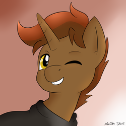 Size: 1200x1200 | Tagged: artist:melodicmarzipan, brown mane, cloak, clothes, cute, golden eyes, oc, oc only, oc:shadowheart, one eye closed, pony, safe, simple background, smiling, solo, unicorn, wink