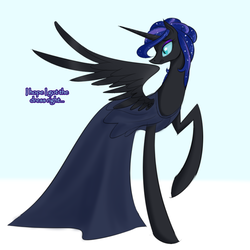 Size: 750x750 | Tagged: safe, artist:its-gloomy, nightmare moon, alicorn, pony, tumblr:ask queen moon, clothes, dress, solo