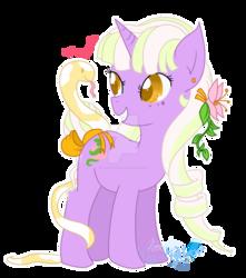 Size: 1280x1450 | Tagged: safe, artist:thenightgazer, oc, oc only, oc:ophidiane, pony, snake, unicorn, flower, flower in hair, watermark