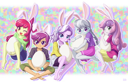 Size: 1500x960 | Tagged: safe, artist:uotapo, apple bloom, diamond tiara, scootaloo, silver spoon, sweetie belle, equestria girls, adorabloom, barefoot, blushing, bunny ears, bunny tail, clothes, cute, cutealoo, cutie mark, cutie mark crusaders, diamondbetes, diasweetes, easter, easter egg, egg, feet, female, glasses, holiday, looking at you, one eye closed, open mouth, pants, silverbetes, skirt, uotapo is trying to murder us, wink