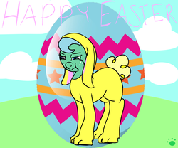 Size: 3000x2500 | Tagged: safe, artist:vorian caverns, oc, oc only, oc:annie, animal costume, bad handwriting, blue eyes, bunny costume, clothes, costume, easter, easter egg, floppy ears, fluffy tail, grumpy, signature, solo, text