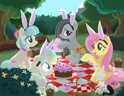 Size: 1056x816 | Tagged: safe, artist:lavendus, angel bunny, coco pommel, fluttershy, marble pie, vapor trail, butterfly, cat, earth pony, pegasus, pony, basket, bunny ears, cake, cocobetes, cup, cute, cuteness overload, easter, easter egg, female, food, forest, hnnng, marblebetes, mare, picnic, shyabetes, teacup, the council of shy ponies, tree, vaporbetes