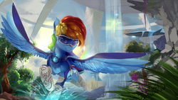 Size: 1920x1080   Tagged: safe, artist:discordthege, rainbow dash, pegasus, pony, backwards cutie mark, crossover, female, flying, futuristic, goggles, looking at you, mare, raised hoof, scenery, scenery porn, smiling, solo, spread wings, stellaris, visor, water, wings