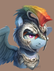 Size: 2005x2639   Tagged: safe, artist:audrarius, rainbow dash, pegasus, pony, armor, bust, female, helmet, looking away, mare, portrait, simple background, solo, spread wings, wings