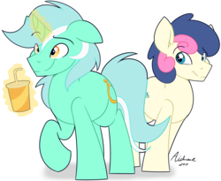 Size: 1024x838 | Tagged: safe, artist:aidraws, bon bon, lyra heartstrings, sweetie drops, pony, boy bon, guyra, magic, rule 63, simple background, soda, transparent background
