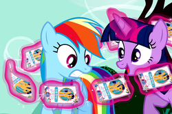 Size: 661x442 | Tagged: safe, edit, edited screencap, screencap, flash sentry, rainbow dash, twilight sparkle, alicorn, pony, testing testing 1-2-3, flash cards, magic, pun, twilight sparkle (alicorn), visual pun