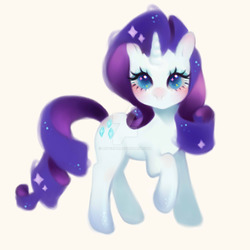 Size: 1600x1600 | Tagged: safe, artist:luverihu, rarity, pony, unicorn, female, mare, raised hoof, simple background, solo