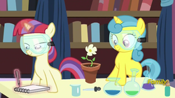 Size: 1135x637 | Tagged: safe, screencap, lemon hearts, moondancer, pony, celestial advice, alchemy, blank flank, cute, discovery family logo, female, filly, flask, flower, flower pot, goggles, lemonbetes, levitation, looking at something, magic, notebook, pen, potion, safety goggles, telekinesis, writing, younger
