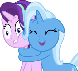Size: 5000x4608   Tagged: safe, artist:hithroc, starlight glimmer, trixie, pony, unicorn, all bottled up, absurd resolution, cute, diatrixes, female, hape, hug, mare, simple background, squishy cheeks, transparent background, vector
