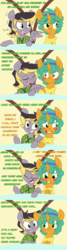 Size: 2000x7500 | Tagged: safe, artist:kryptchild, snails, oc, oc:aero, pegasus, pony, ask glitter shell, comic:when aero met glitter, :o, absurd resolution, aeroshell, alternate hairstyle, blushing, canon x oc, clothes, colt, comic, crush, cute, date, gay, glitter shell, headband, hoodie, male, nervous, offspring, open mouth, parent:derpy hooves, parent:oc:warden, parents:canon x oc, parents:warderp, scarf, scooch, shipping, slide, sugarcube corner, trap, tumblr