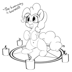 Size: 1280x1285 | Tagged: safe, artist:pabbley, pinkie pie, pony, belly button, bipedal, body horror, candle, cute, dialogue, diapinkes, eldritch abomination, female, floppy ears, happy, magic, magic circle, monochrome, offscreen character, open mouth, ponk, simple background, sitting, smiling, solo, summoning, summoning circle, this will end in death and/or a party, white background, xk-class end-of-the-world scenario