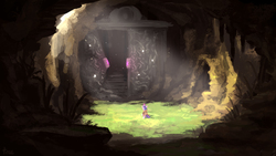 Size: 4000x2250 | Tagged: safe, artist:thefloatingtree, twilight sparkle, pony, unicorn, absurd resolution, cave, crepuscular rays, cutie mark, door, female, magic, ruins, scenery, solo