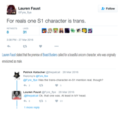 Size: 1253x1138 | Tagged: safe, boast busters, implications, lauren faust, meme origin, meta, text, trans trixie, transgender, twitter, word of faust