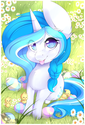 Size: 800x1167 | Tagged: safe, artist:teranen, oc, oc only, oc:bubble lee, pony, unicorn, chick, chicks, colored pupils, cute, easter, easter egg, eye clipping through hair, female, freckles, gift art, looking at you, mare, ocbetes, smiling, solo, tongue out