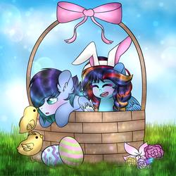 Size: 1024x1024 | Tagged: safe, artist:northlights8, oc, oc only, oc:brisk dawn, oc:tidal breeze, pegasus, pony, basket, bunny ears, chick, easter, female, male, mare, offspring, parent:rainbow dash, parent:soarin', parents:soarindash, pony in a basket, stallion