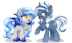 Size: 1023x614 | Tagged: safe, artist:pvrii, oc, oc only, oc:coastal frost, oc:midnight radiance, bat pony, bat pony unicorn, hybrid, pony, unicorn, chest fluff, colored pupils, duo, fangs, female, male, mare, simple background, smiling, stallion, transparent background