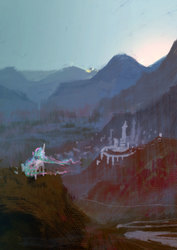Size: 1240x1754   Tagged: safe, artist:quiet-victories, princess celestia, alicorn, pony, dolbolen challenge, female, mountain, scenery, solo