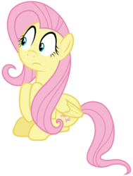 Size: 4350x5760 | Tagged: safe, artist:djdavid98, fluttershy, pony, buckball season, .ai available, .svg available, absurd resolution, concerned, folded wings, looking away, simple background, sitting, solo, transparent background, vector