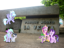 Size: 1499x1124 | Tagged: safe, artist:reaver75, cloudchaser, flitter, princess cadance, rumble, spike, starlight glimmer, alicorn, dragon, pegasus, pony, unicorn, female, irl, la venta park-museum, male, mexico, museum, park, photo, ponies in real life, shipping, straight, tabasco, vector, villahermosa