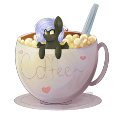 Size: 1003x960 | Tagged: safe, artist:twinkepaint, oc, oc only, oc:cloudy night, pegasus, pony, coffee, cup, cup of pony, female, mare, micro, simple background, solo, transparent background