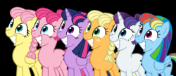 Size: 1977x854 | Tagged: safe, artist:bananimation, applejack, fluttershy, pinkie pie, rainbow dash, rarity, twilight sparkle, alicorn, pony, bad end, black background, creepy, equalized, face, mane six, simple background, smiling, the bad guy wins, this will end in communism, twilight sparkle (alicorn)
