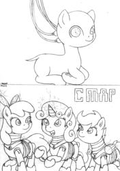 Size: 1635x2326 | Tagged: safe, artist:merkleythedrunken, apple bloom, scootaloo, sweetie belle, oc, oc:nudie, pony, robot, robot pony, apple bloom bot, cutie mark crusaders, monochrome, scootabot, sweetie bot, traditional art, wires