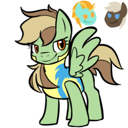 Size: 500x500 | Tagged: artist:littaly, clothes, dead source, dumbbell, female, lightningbell, lightning dust, male, oc, oc:tumbleweed, offspring, parent:dumbbell, parent:lightning dust, parents:lightningbell, pegasus, pony, safe, shipping, simple background, straight, uniform, white background, wonderbolt trainee uniform