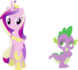 Size: 3590x3242 | Tagged: safe, artist:porygon2z, princess cadance, spike, alicorn, dragon, pony, female, interspecies, male, shipping, simple background, spikedance, straight, transparent background, vector