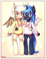 Size: 850x1100 | Tagged: safe, artist:hoodie, oc, oc only, oc:rescue pony, oc:twinkie dink, bat pony, changeling, changeling queen, pony, semi-anthro, blue changeling, blushing, bottomless, changeling queen oc, clothes, cute, duo, ear fluff, female, heart, hoodie, male, mare, partial nudity, stallion
