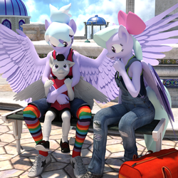 Size: 1500x1500 | Tagged: safe, artist:tahublade7, cloudchaser, flitter, rumble, anthro, pegasus, plantigrade anthro, 3d, babysitting, bench, bow, clothes, cloudrumble, cute, daz studio, female, flitterumble, flitterumblechaser, hair bow, hug, lucky bastard, male, mare, overalls, pants, rumble gets both the mares, rumblechaser, shipping, shoes, sneakers, socks, spread wings, straight, striped socks, tanktop, tights, wings