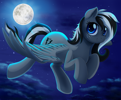 Size: 2800x2333   Tagged: safe, artist:evomanaphy, oc, oc only, oc:shady hearts, pegasus, pony, cloud, commission, female, flying, full moon, looking at you, mare, moon, night, sky, smiling, solo, spread wings, stars, wings